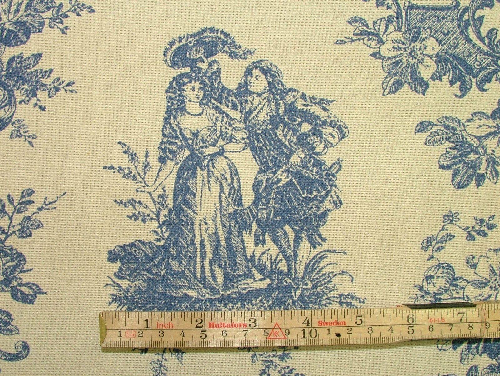 Blue Amp Natural Cream Linen Look Toile De Jouy Curtain